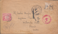 103937 - 1914 UNPAID MILITARY MAIL FRANCE TO LONDON.