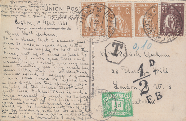 103941 - 1921 UNDERPAID MAIL PORTUGAL TO LONDON.