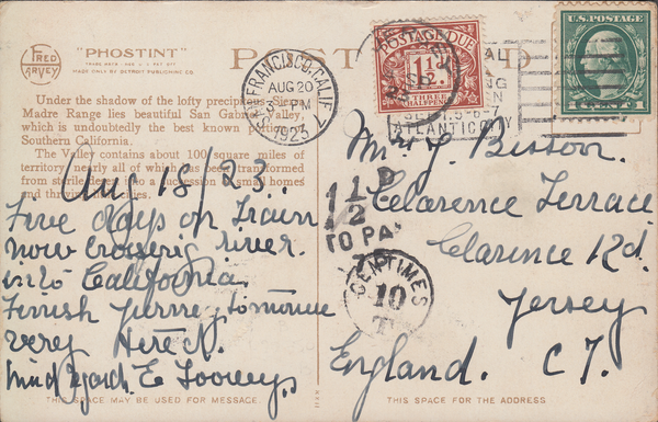 103944 - 1923 UNDERPAID MAIL US TO JERSEY/1½D POSTAGE DUE LABEL.