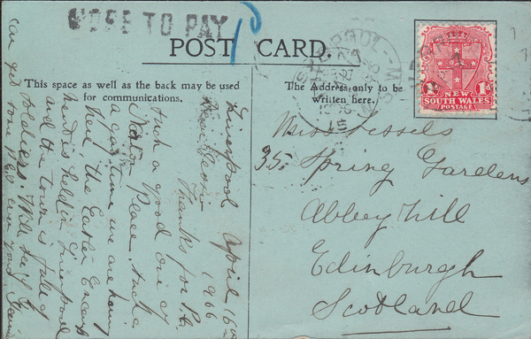 103946 - 1906 UNDERPAID MAIL NEW SOUTH WALES TO EDINBURGH.