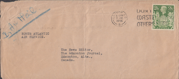 103956 - 1946 MAIL LONDON TO CANADA/2/6 YELLOW-GREEN (SG476b).