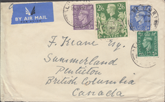 103959 - 1949 ENVELOPE ALRESFORD TO CANADA/2/6 YELLOW-GREEN (SG476b).