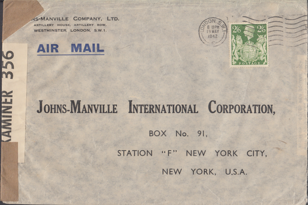 103963 - 1942 MAIL LONDON TO NEW YORK/2/6 YELLOW-GREEN (SG476b).
