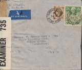 103967 - 1943 MAIL KEIGHLEY TO ARGENTINE/2/6 YELLOW-GREEN (SG476b).