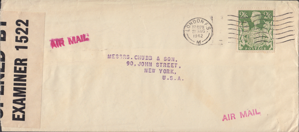 103972 - 1942 MAIL LONDON TO USA/2/6 YELLOW-GREEN (SG476b).