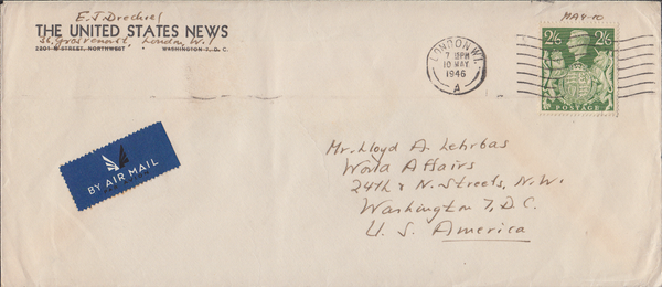 103977 - 1946 MAIL LONDON TO USA/2/6 YELLOW-GREEN (SG476b).