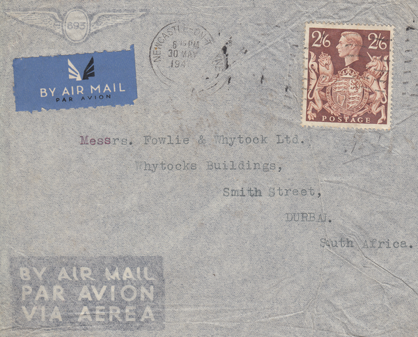 103995 - 1940 MAIL NEWCASTLE ON TYNE TO SOUTH AFRICA/2/6 BROWN (SG476).