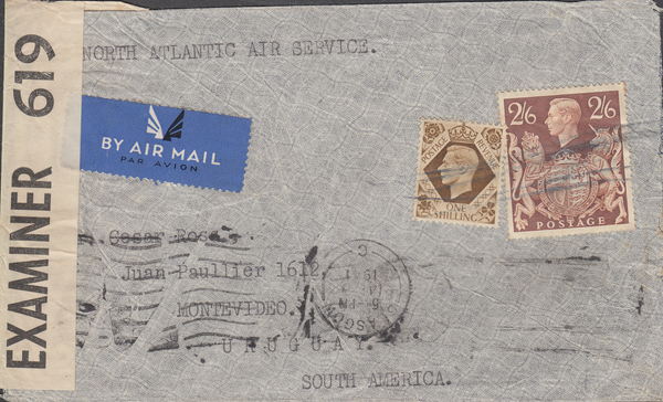 104001 - 1941 MAIL GLASGOW TO URUGUAY/2/6 BROWN (SG476).