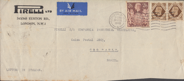 104003 - 1940 MAIL LONDON TO BRAZIL/2/6 BROWN (SG476).