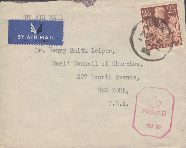 104005 - 1941 MAIL LONDON TO USA/2/6 BROWN (SG476).