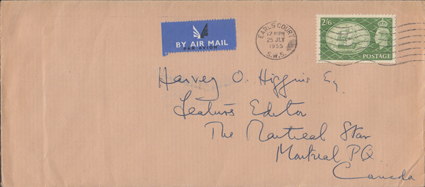 104019 - 1955 MAIL LONDON TO CANADA/2/6 YELLOW-GREEN (SG509).