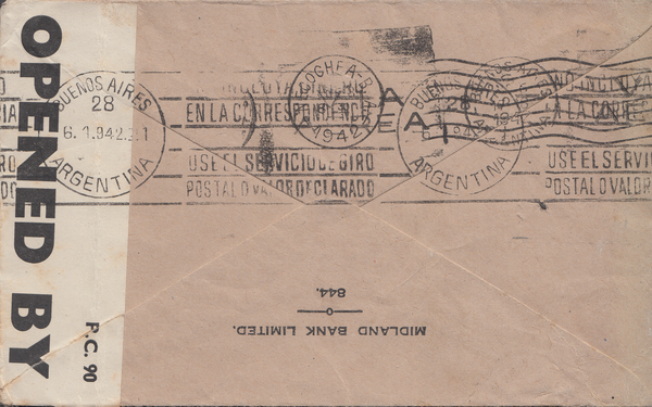 104021 - 1941 MAIL LONDON TO BUENOS AIRES/2/6 BROWN (SG476).