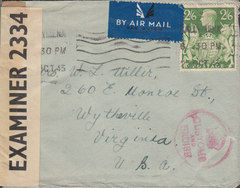104024 - 1943 MAIL BALLYMENA TO THE USA/2/6 YELLOW-GREEN (SG476b).