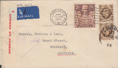 104030 - 1941 MAIL LONDON TO AUSTRALIA/2/6 BROWN (SG476)/PERFIN.
