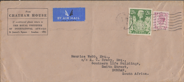 104033 - 1950 MAIL LONDON TO SOUTH AFRICA/2/6 YELLOW-GREEN (SG476b).