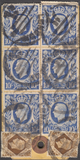 104067 - UNDATED PARCEL TAG KGVI 10S ULTRAMARINE (SG478b) X TEN!/5S RED (SG477).