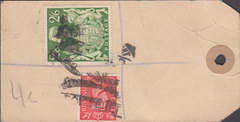 104069 - KGVI BANKERS PARCEL TAG/2/6 YELLOW-GREEN (SG476b).