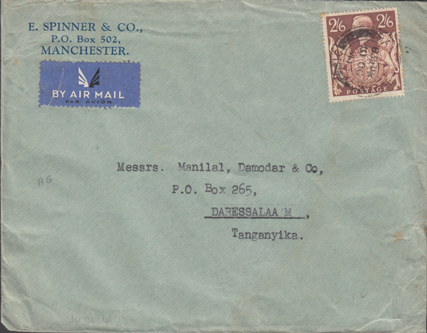 104077 - 1941 MAIL MANCHESTER TO TANGANYIKA/2/6 BROWN (SG476).