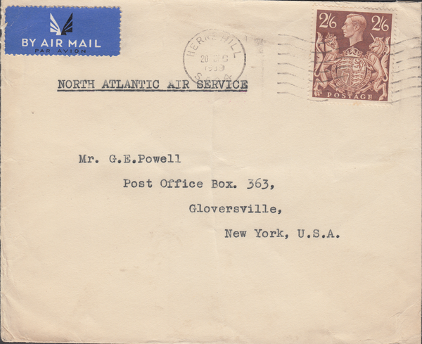104080 - 1939 MAIL  HERNE HILL TO U.S.A./2/6 BROWN (SG476).