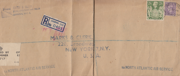 104089 - 1944 MAIL LIVERPOOL TO U.S.A./2/6 YELLOW-GREEN (SG476b).