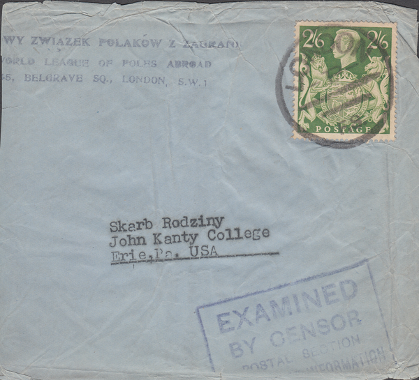 104096 - KGVI MAIL LONDON TO U.S.A./2/6 YELLOW-GREEN (SG476b)/POLISH LEAGUE.