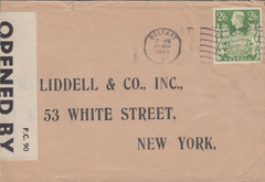104097 - 1944 MAIL BELFAST TO U.S.A./2/6 YELLOW-GREEN (SG476b).