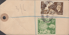 104103 - 1948 KGVI BANKERS PARCEL TAG/2/6 YELLOW-GREEN (SG476b).