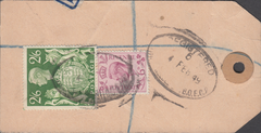 104104 - 1949 KGVI BANKERS PARCEL TAG/2/6 YELLOW-GREEN (SG476b).