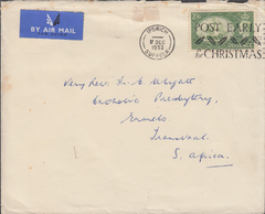 104108 - 1953 MAIL IPSWICH TO TRANSVAAL, SOUTH AFRICA/2/6 YELLOW-GREEN (SG509).