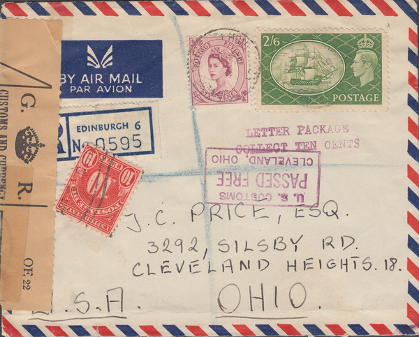 104121 - 1955 MAIL EDINBURGH TO U.S.A./2/6 YELLOW-GREEN (SG509)/U.S. POSTAGE DUE.