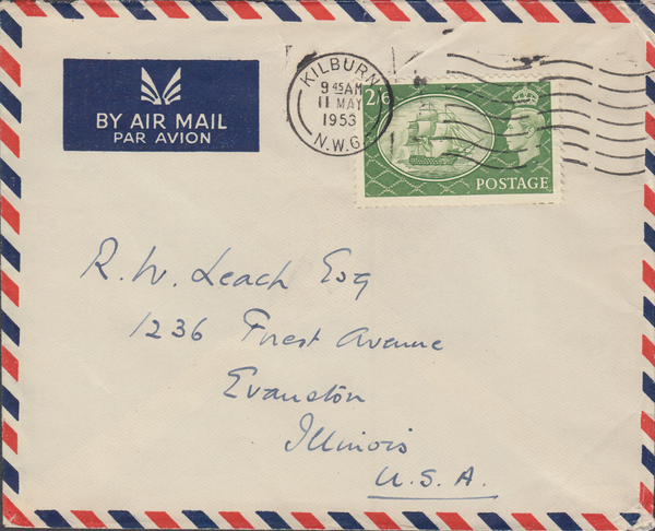 104130 - 1953 MAIL KILBURN TO U.S.A./2/6 YELLOW-GREEN (SG509).