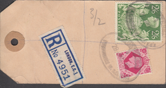 104147 - 1949 KGVI BANKERS PARCEL TAG/2/6 YELLOW-GREEN (SG476b).