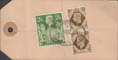 104149 - 1949 KGVI BANKERS PARCEL TAG/2/6 YELLOW-GREEN (SG476b).