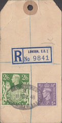 104151 - 1948 KGVI BANKERS PARCEL TAG/2/6 YELLOW-GREEN (SG476b).