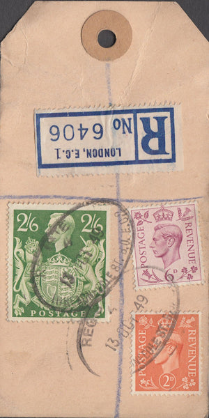 104155 - 1949 KGVI BANKERS PARCEL TAG/2/6 YELLOW-GREEN (SG476b).