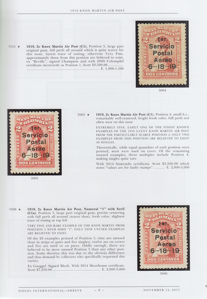 104175 - THE BARRY P. FLETCHER COLLECTION OF COLOMBIAN AIR POST ISSUES 1919-1923 BY ROBERT A. SIEGEL.