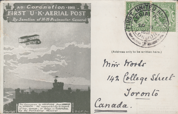 104366 - 1911 FIRST OFFICIAL U.K. AERIAL POST/LONDON POST CARD IN OLIVE-GREEN TO CANADA.