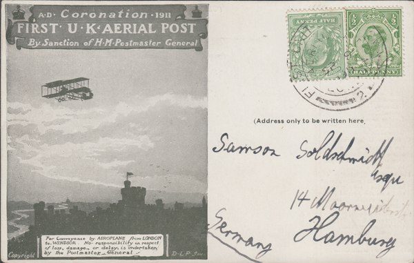 104373 - 1911 FIRST OFFICIAL U.K. AERIAL POST/LONDON POST CARD IN OLIVE-GREEN TO GERMANY/MIXED REIGN USAGE.