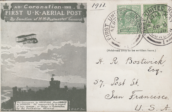 104393 - 1911 FIRST OFFICIAL U.K. AERIAL POST/LONDON POST CARD IN OLIVE-GREEN TO SAN FRANCISCO.