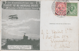 104426 - 1911 FIRST OFFICIAL U.K. AERIAL POST/LONDON POST CARD IN OLIVE-GREEN TO SOUTH AFRICA.