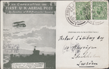 104430 - 1911 FIRST OFFICIAL U.K. AERIAL POST/LONDON POST CARD IN OLIVE-GREEN TO SWEDEN.