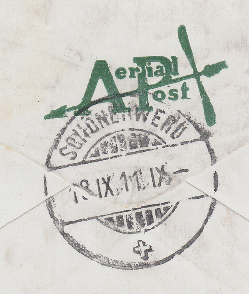 104433 - 1911 FIRST OFFICIAL U.K. AERIAL POST/LONDON ENVELOPE IN BRIGHT GREEN TO SWITZERLAND.