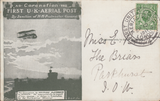 104437 - 1911 FIRST OFFICIAL U.K. AERIAL POST/LONDON POST CARD IN OLIVE-GREEN TO THE ISLE OF WIGHT.