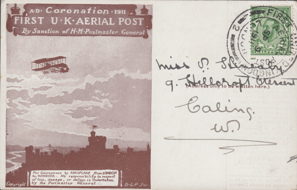 104457 - 1911 FIRST OFFICIAL U.K. AERIAL POST/USED LONDON POST CARD IN BROWN.