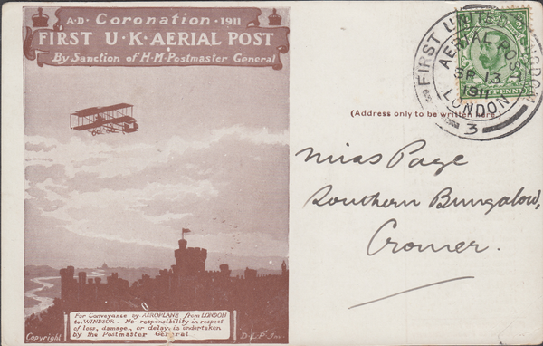 "104464 - 1911 FIRST OFFICIAL U.K. AERIAL POST/USED LONDON POST CARD ""REPRINT"" IN BROWN."