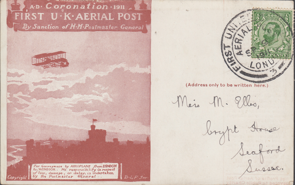 104477 - 1911 FIRST OFFICIAL U.K. AERIAL POST/USED LONDON POST CARD IN RED-BROWN.
