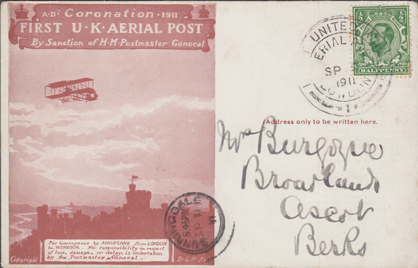 104482 - 1911 FIRST OFFICIAL U.K. AERIAL POST/USED LONDON POST CARD IN RED-BROWN.
