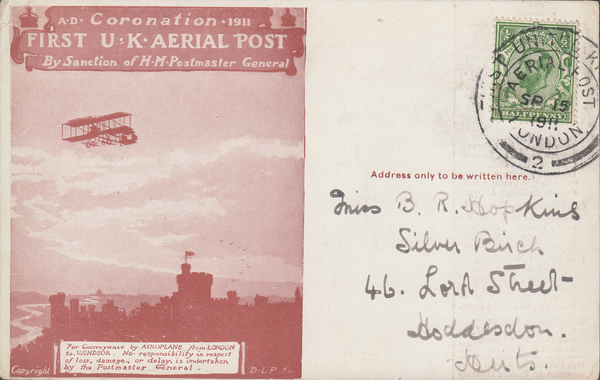 104487 - 1911 FIRST OFFICIAL U.K. AERIAL POST/USED LONDON POST CARD IN RED-BROWN.