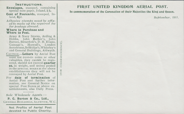 104500 - 1911 FIRST OFFICIAL U.K. AERIAL POST/USED LONDON ENVELOPE IN BRIGHT GREEN.