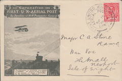 104514 - 1911 FIRST OFFICIAL U.K. AERIAL POST/USED LONDON EMERGENCY ENVELOPE IN OLIVE-GREEN.